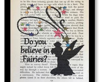 """Peter Pan & Wendy Book Page Print """"Do You Believe in Fairies"""" Vintage Peter Pan Book Page Print- Tinkerbell Print,Tinkerbell Art Print"""