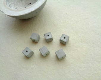 Concrete Beads 12mm, Set of 6 Hand casting beads, DIY Goncrete Necklace, Geometric Jewelry