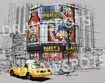DAFFYS corner in New York, Colorful handmade drawing of New York. Original Handmade drawing Art Print,wall print for office or men's cave