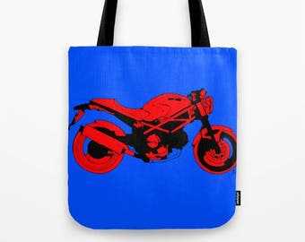Tote bag | Ducati Monster, Original handmade drawing, red and blue, great gift for bikers