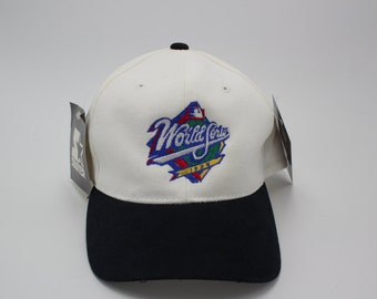 Deadstock WORLD SERIES 1990's Snapback Hat Vintage Adjustable Strap New York Yankees San Diego Padres MLB Baseball Sports Athletic