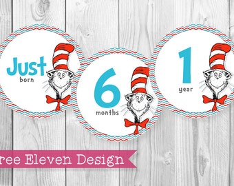 Cat In The Hat PRINTABLE Monthly Stickers