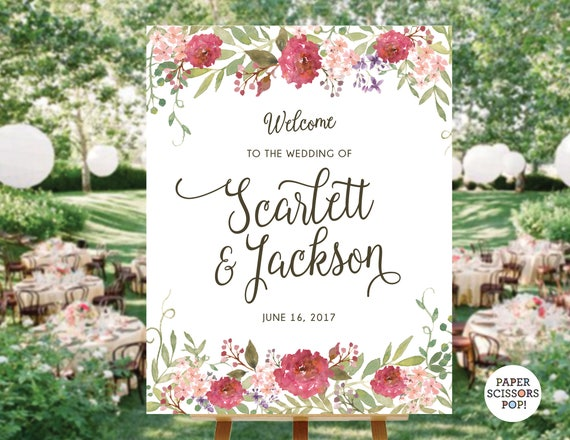 Roses Welcome Sign Rustic Hashtag Wedding Engagement