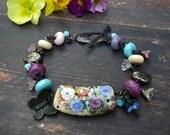 RESERVED for ANN - Secret Garden -  OOAK artisan lampwork butterfly floral spring multicolour black copper boho festival bracelet