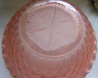 Pink Glass Bowl, vintage, large REDUCED