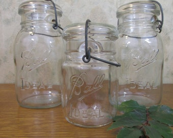 Vintage Set of 3 Ball Ideal Wire Bail Canning Jars with Lids 1910s