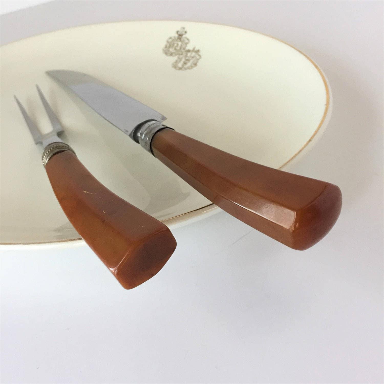 Carving set vintage carver slicer knife and fork valley - Knife and fork sets ...