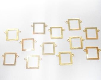 12 Goldplated Square Pendats with 2 Loops