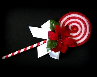 Fake Lollipop Whimsical Decoration White and Red Poinsettia Lollipop Wand Photo Prop Christmas Decoration