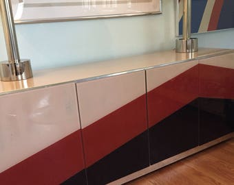 SALE Mod credenza Glass graphic buffet cabinet Ello Pace Baughman style chevron sideboard dining room entryway bar cabinet