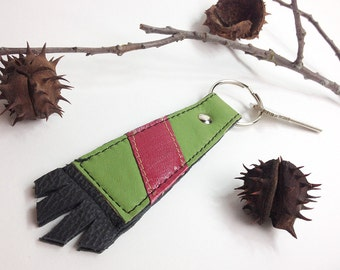 Large Lime Green Cowhide Leather Key Fob Ring