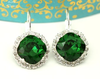 Emerald Earrings Leverback Earrings Swarovski Dark Moss Bridesmaid Earrings Dark Green Earrings Bridal Earrings Crystal Green Earrings DM50L
