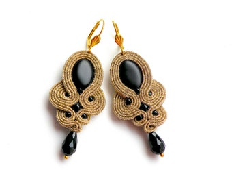 Earrings-Soutache Jewelry-Hand Embroidered Gold&Black