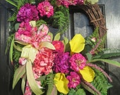 Mothers Day Wreath, Spring Door Wreath, Spring Wreath for Front Door, Summer Door Wreath, Orchid Wreath, Shabby Chic Wreath, Calla Lilies