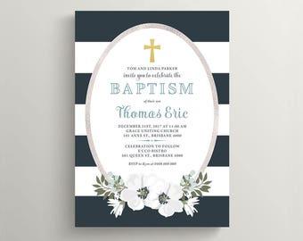 Printable Baptism Invitation \ Christening Invite \ Boy Baptism Invite \ Navy (RD29)