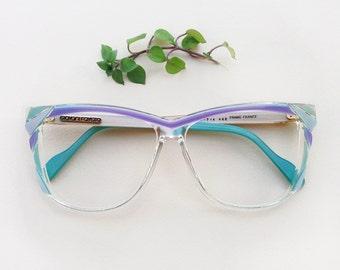 womens designer glasses csxv  80s designer eyeglasses / Vintage deadstock pastel womens frames / hipster  aqua turquoise lilac sunglasses / Giovani Favetto French Eyewear