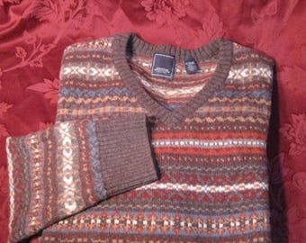 SALE Vintage 80's Arrow, Fair Isle, Wool Cotton Blend V neck, Pullover Sweater, Men's XL Chest 50'' Multi colors blue red brown tan
