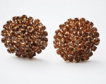 Weiss Rhinestone Earrings -Brown Orange Crystal - Gold tone - Round - clip on earrings