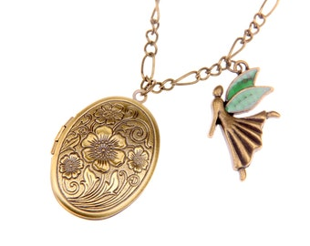 Fairy Locket, Fairy Necklace, Fairy Jewelry, Locket Charm, Personalized Floral