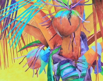 NEW! Art Original Watercolor Painting of COCONUTS on YELLOW