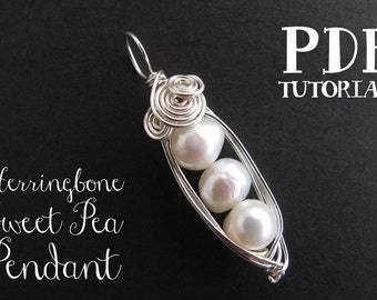 Wire Wrap Tutorial, Wire Wrapping Tutorial, Jewelry Tutorial:  Herringbone Sweet Pea Pendant (PDF jewelry pattern)