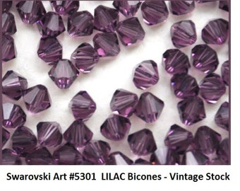 72 Swarovski LILAC 4mm Bicones, Article 5301, New in Package (discontinued color)