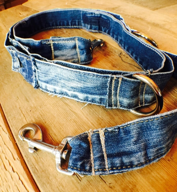 Denim Dog Leash, Destroyed Denim Leash,  Recyled jeans, Dog Leash, Heavy Dog Leash, Recycled Denim Dog Leash,