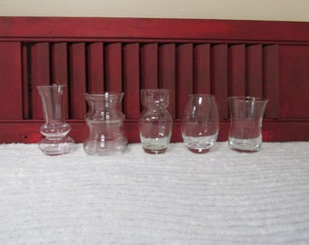 Set of Five Small Clear Glass Vases
