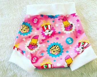 Shopkins,Shorties, cotton diaper cover,  nb, size 3, 6, 9, 12, 24 months, 2T