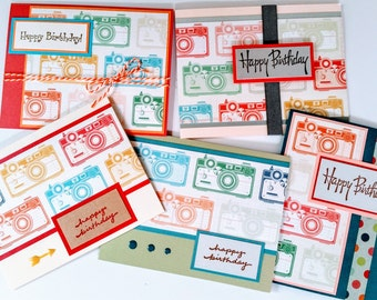 Colorful Cameras Birthday Cards - boxed set of 5