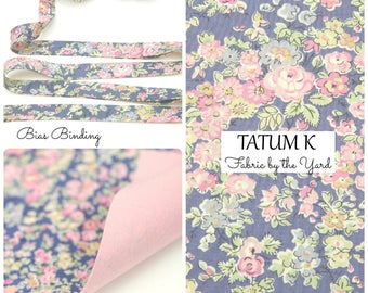 Liberty of London Tana Lawn Fabric TATUM K Blue // Liberty Bias Binding // Bias Tape // Liberty Yardage // Fabric Felt // Felt Backed Fabric