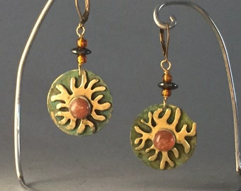 Alá Matisse Earrings with Hematite Beads and Gemstone Cabochons