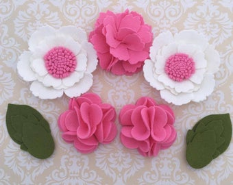 Handmade Wool Felt Flowers, Hot Pink, and White