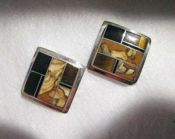 "Vintage NAVAJO JOHN DELVIN Mosaic Earrings -- Sterling with Agate and Jet, 7/8"" Square, Signed, Pierced/Posts, Excellent Condition"