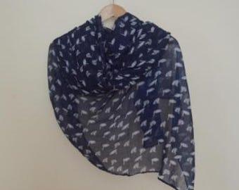 Navy Blue Scarf in darker grey mosaic,Long Scarf, Women,Autumn, Spring, Winter, Lightweight Scarf, Gift Ideas for Her