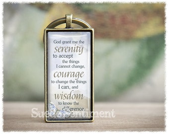 Serenity Prayer Keychain • Inspirational Gifts • Religious Keyring • Religious Quotes Keychain