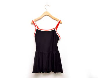 90s Black Skirt One Piece Bathing Suit Swimwear Women's 12
