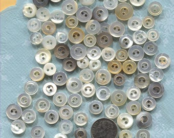 Group of 95 Small Vintage White Mother of Pearl Buttons-Item#358