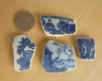 SEA POTTERY Shards 4 Blue and White Pendant Shaped WILLOW Beach Antique Scottish