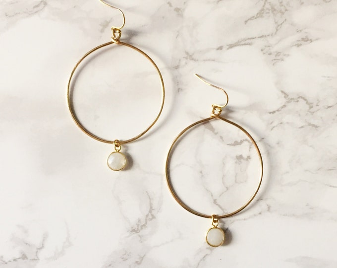 Gold Hoop Earrings - Moonstone White Gemstone