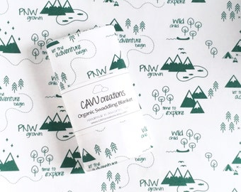 PNW Baby Blanket - Organic Swaddling Blanket in Designer Pacific Northwest Theme - Emerald Green with Outdoors Scene - Ready to Ship!