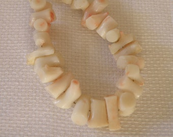 Variegated Angel Skin Coral Necklace with Silver Clasp - 13 inch
