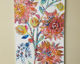 "Flower garden painting, Abstract flowers, Colorful, Textured Art, Hidden Garden collection 12 x 24 ""Dazzling Clementine 2"""