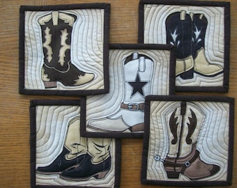 Quilted Cotton Coasters, Set of 5 Coasters, Cowboy Boot Coasters