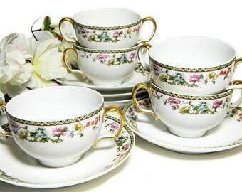 Five Sets Antique Limoges Tressemann & Vogt Bouillon Cups and Saucers