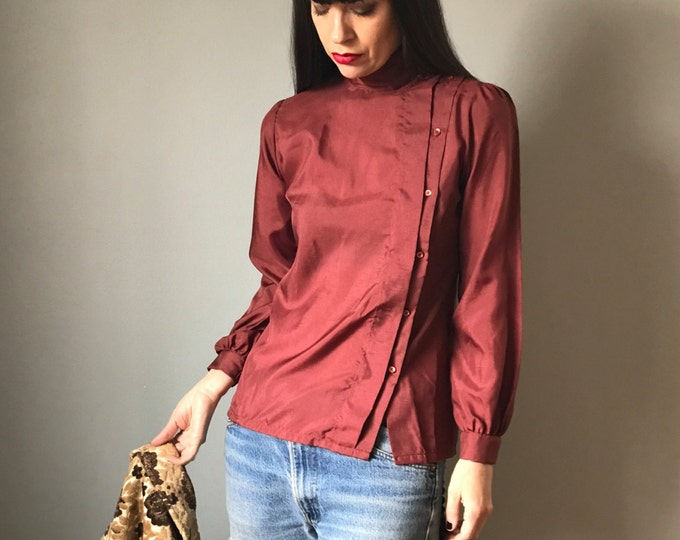 Vintage Rust Asymetrical High Neck Blouse
