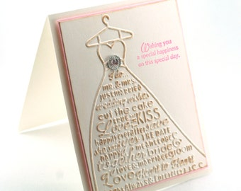 Wedding Dress happy wedding card, bridal gown engagement card, wedding wishes embossed blank card