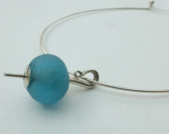 Maloy turquoise recycled glass bead necklet