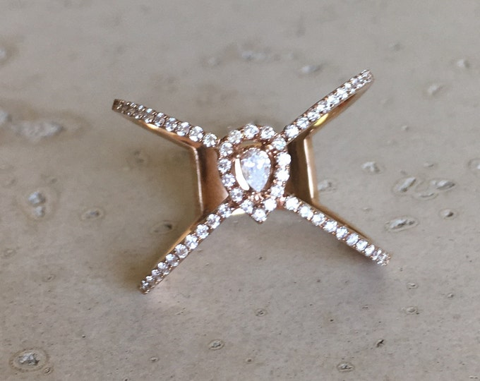 Diamond Double Band Ring- Statement Diamond Rose Gold Ring- White Diamond Gold Band- Criss Cross Diamond Ring- Boho Chic Diamond Ring
