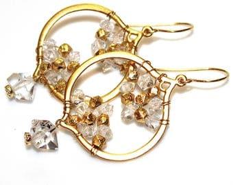 Herkimer Diamond Earrings Herkimer Earring Herkimer Quartz Earrings Geometric Earrings Lantern Earrings Geometric Jewelry Boho Earrings